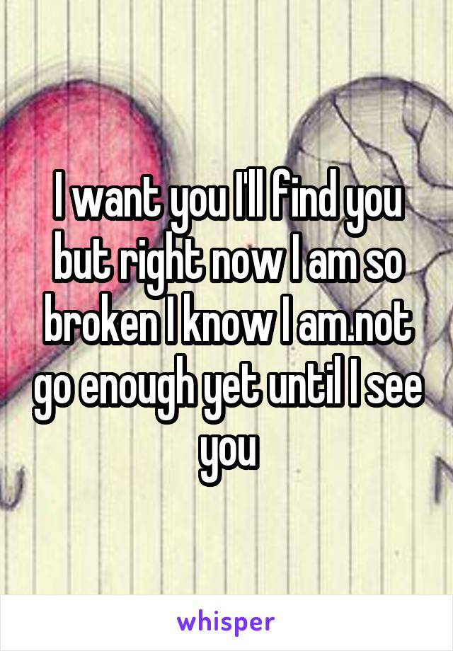 I want you I'll find you but right now I am so broken I know I am.not go enough yet until I see you