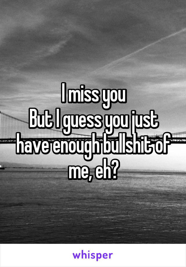 I miss you But I guess you just have enough bullshit of me, eh?