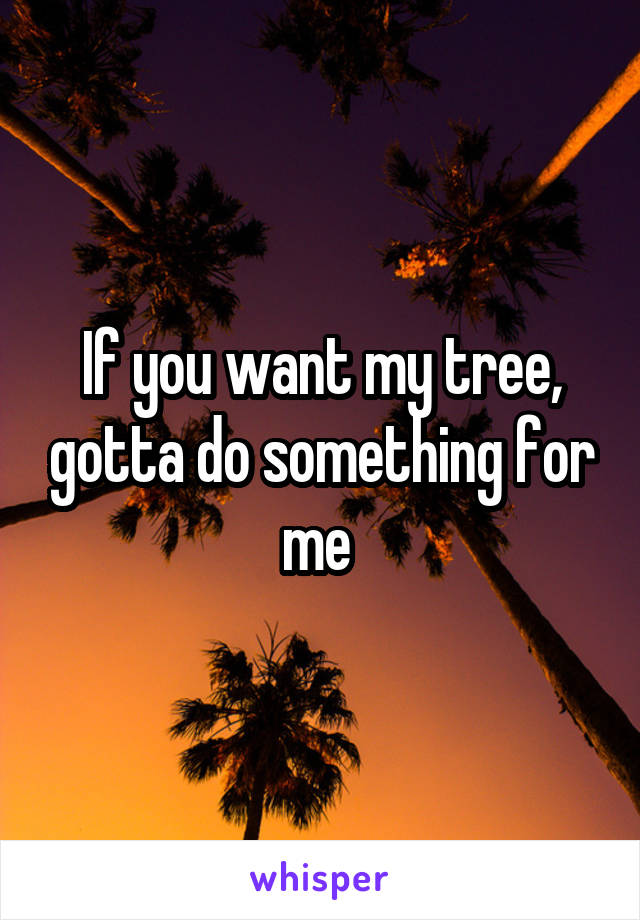 If you want my tree, gotta do something for me