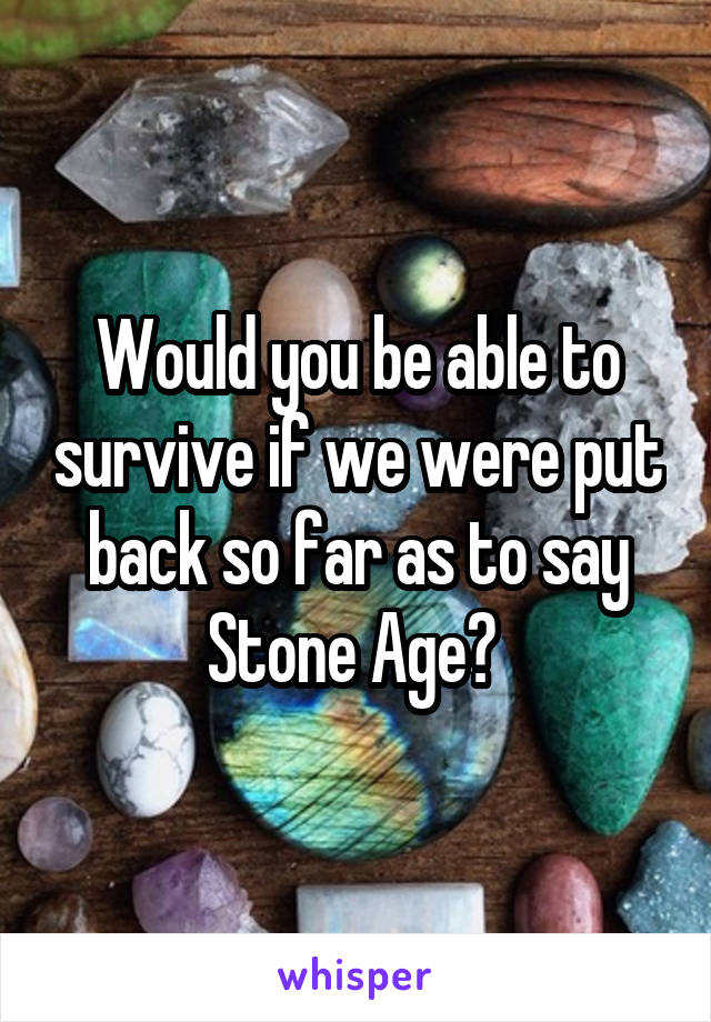 Would you be able to survive if we were put back so far as to say Stone Age?