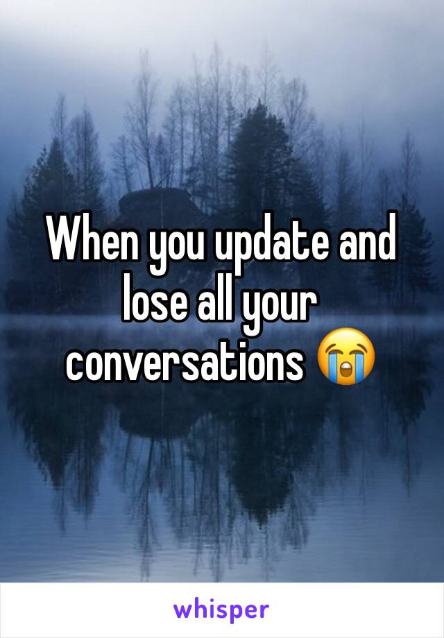 When you update and lose all your conversations 😭