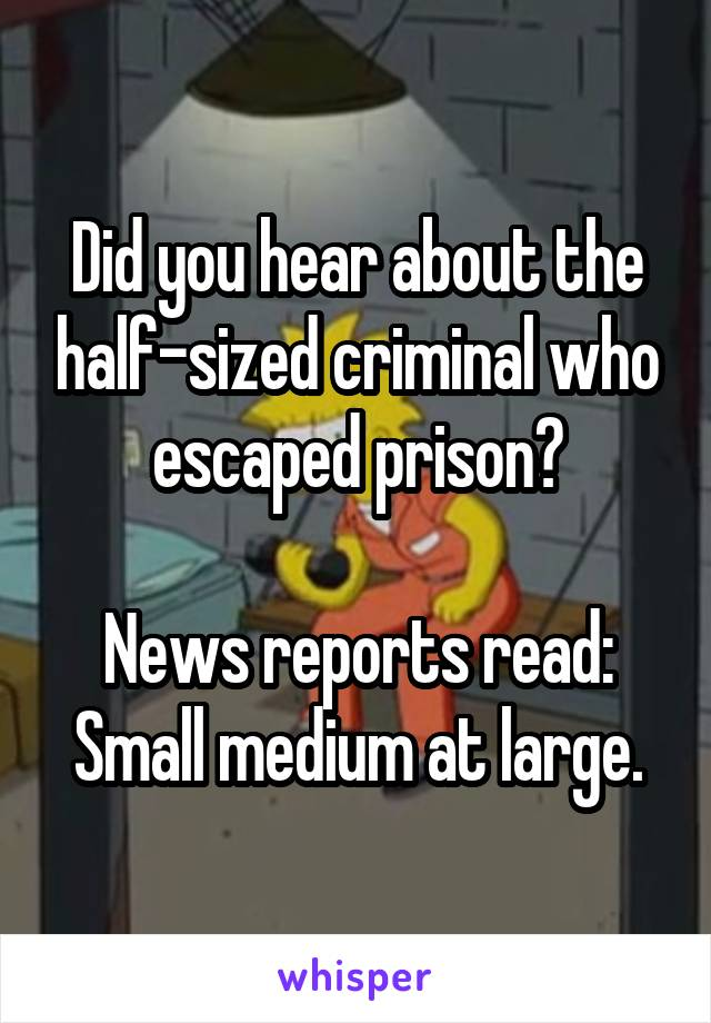 Did you hear about the half-sized criminal who escaped prison?  News reports read: Small medium at large.