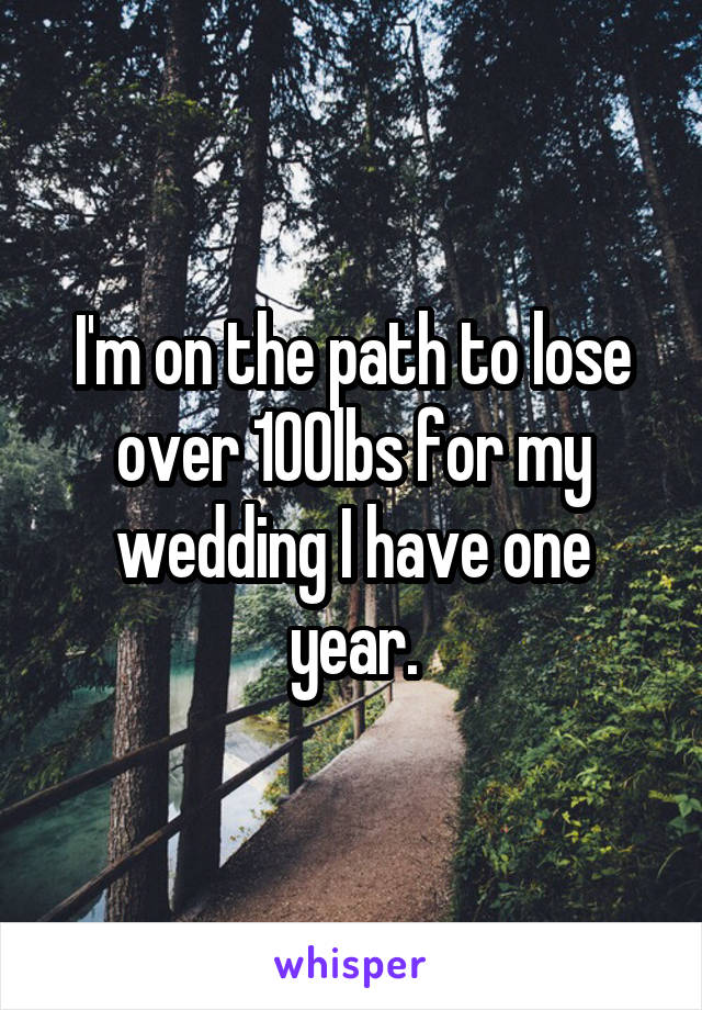 I'm on the path to lose over 100lbs for my wedding I have one year.