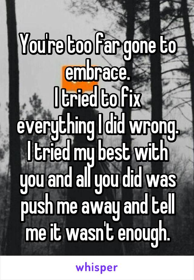 You're too far gone to embrace. I tried to fix everything I did wrong. I tried my best with you and all you did was push me away and tell me it wasn't enough.