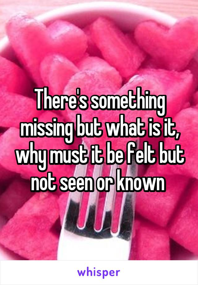 There's something missing but what is it, why must it be felt but not seen or known