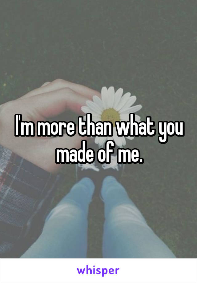 I'm more than what you made of me.