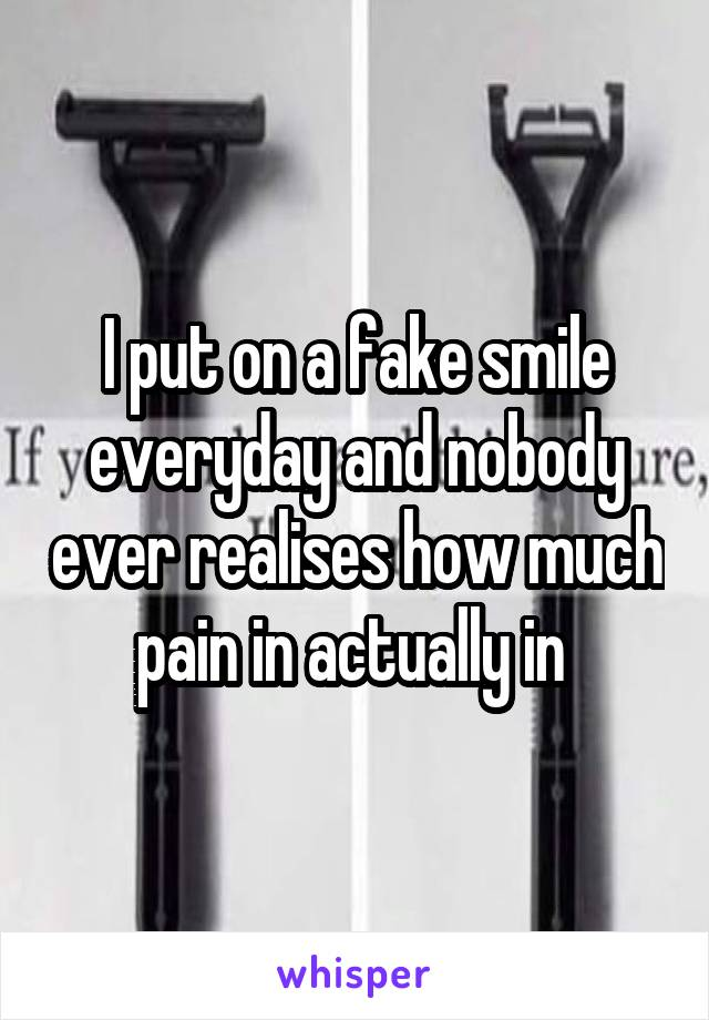 I put on a fake smile everyday and nobody ever realises how much pain in actually in