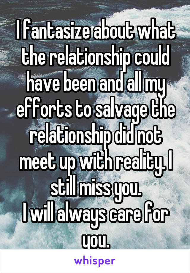 I fantasize about what the relationship could have been and all my efforts to salvage the relationship did not meet up with reality. I still miss you. I will always care for you.