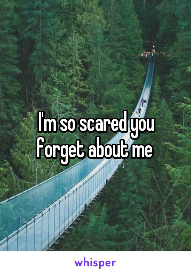 I'm so scared you forget about me