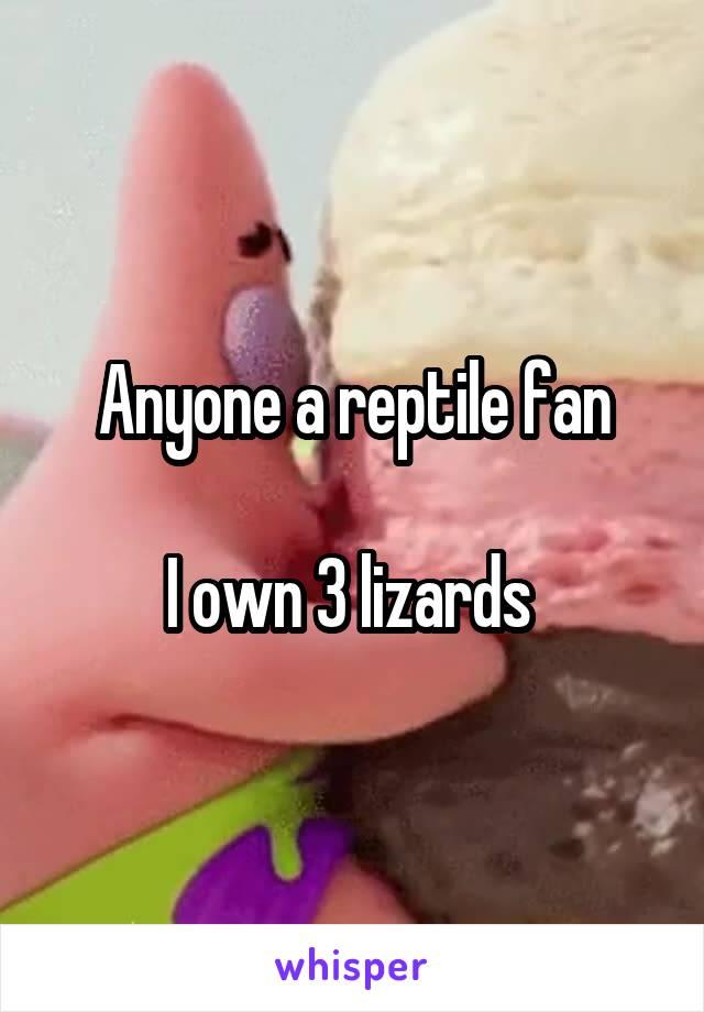 Anyone a reptile fan  I own 3 lizards