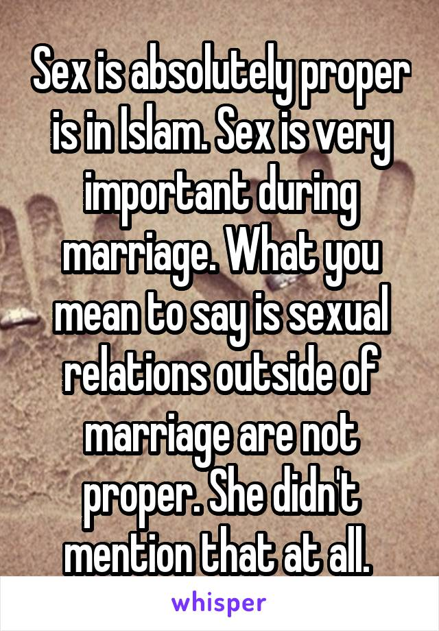 What does sex mean in islam