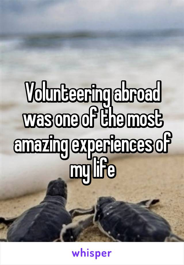 Volunteering abroad was one of the most amazing experiences of my life