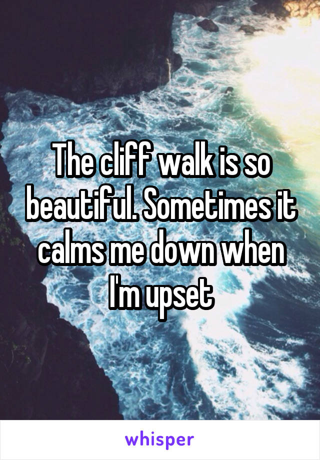 The cliff walk is so beautiful. Sometimes it calms me down when I'm upset