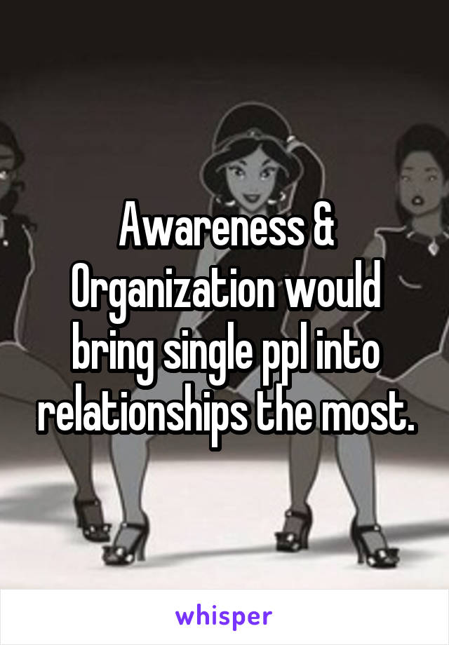 Awareness & Organization would bring single ppl into relationships the most.