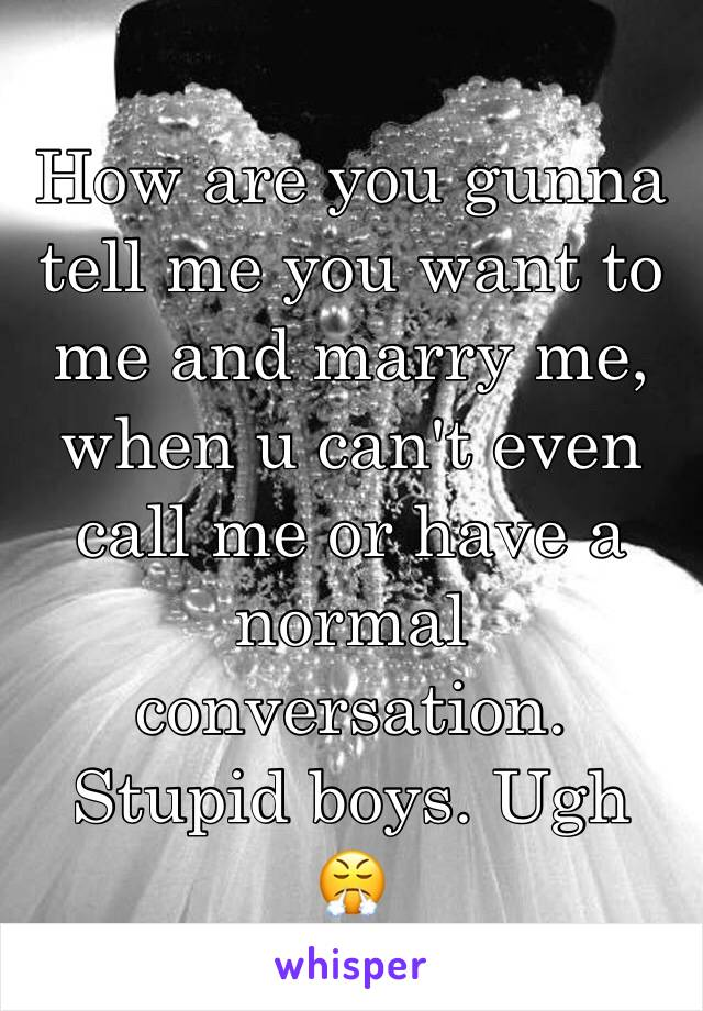 How are you gunna tell me you want to me and marry me, when u can't even call me or have a normal conversation. Stupid boys. Ugh 😤