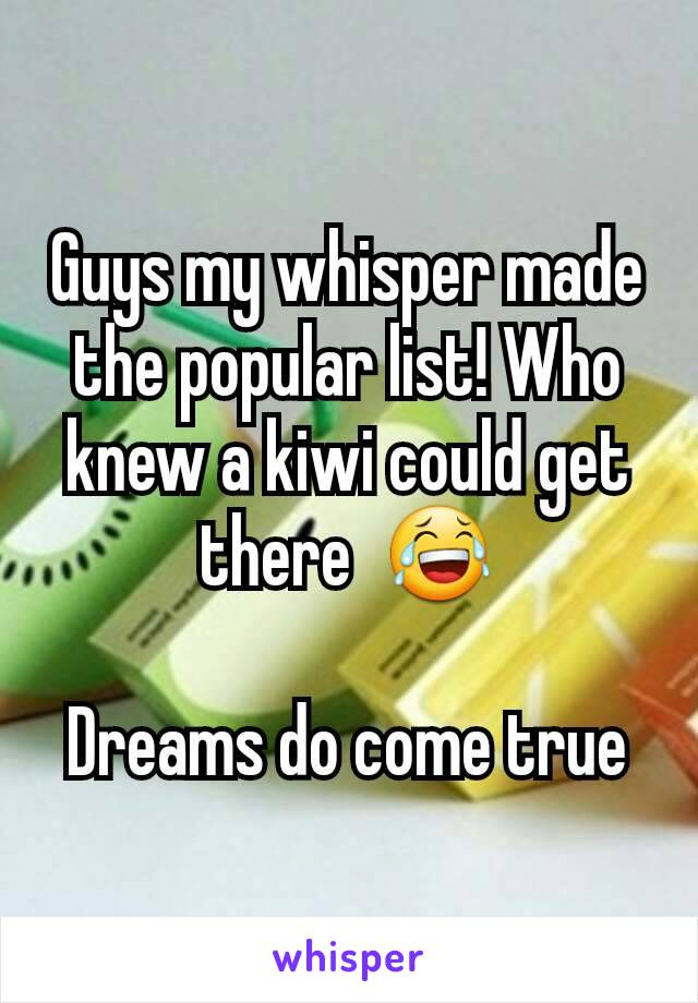 Guys my whisper made the popular list! Who knew a kiwi could get there  😂  Dreams do come true