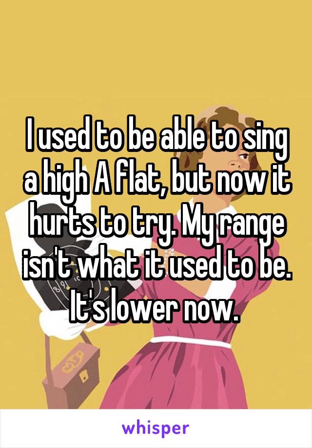 I used to be able to sing a high A flat, but now it hurts to try. My range isn't what it used to be. It's lower now.