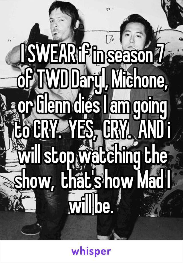 I SWEAR if in season 7 of TWD Daryl, Michone, or Glenn dies I am going to CRY.  YES,  CRY.  AND i will stop watching the show,  that's how Mad I will be.