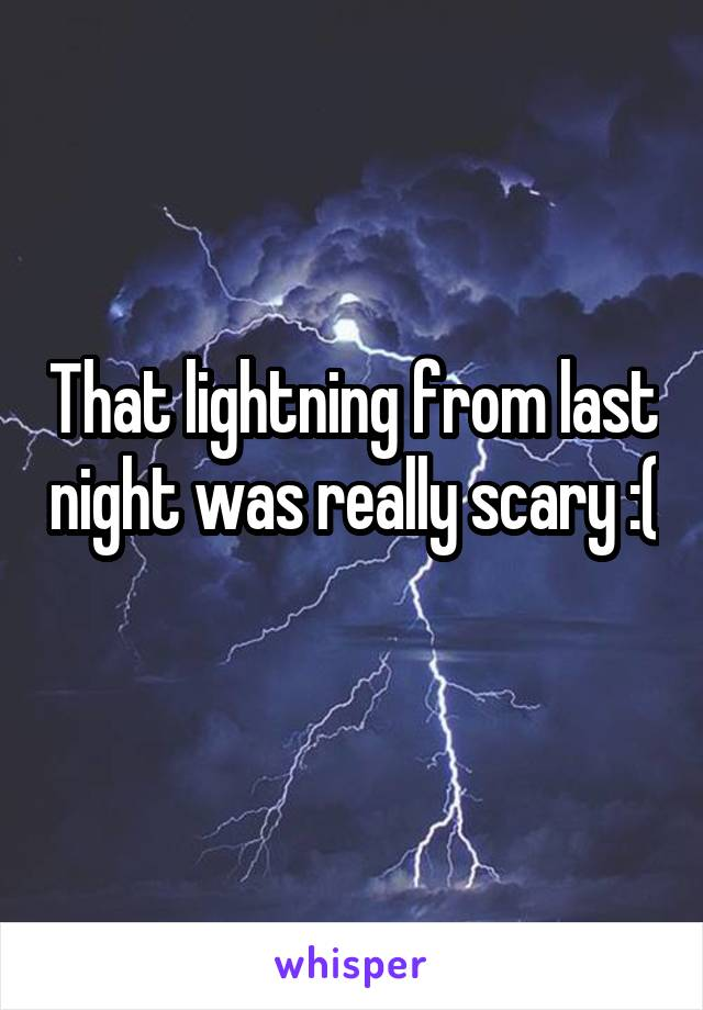 That lightning from last night was really scary :(