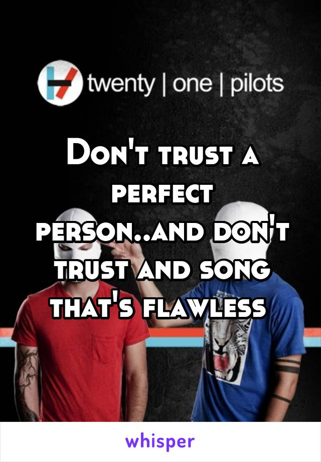 Don't trust a perfect person..and don't trust and song that's flawless