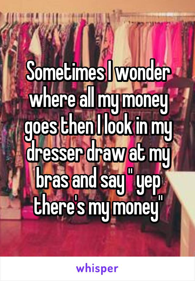 """Sometimes I wonder where all my money goes then I look in my dresser draw at my bras and say """" yep there's my money"""""""