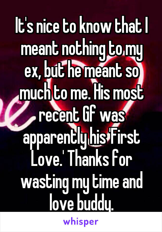 It's nice to know that I meant nothing to my ex, but he meant so much to me. His most recent Gf was apparently his 'First Love.' Thanks for wasting my time and love buddy.