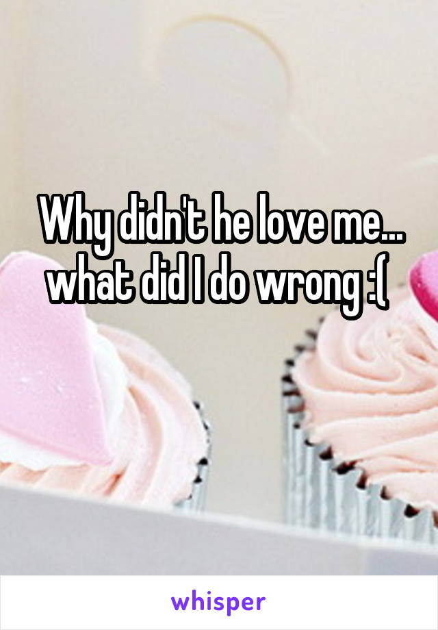 Why didn't he love me... what did I do wrong :(