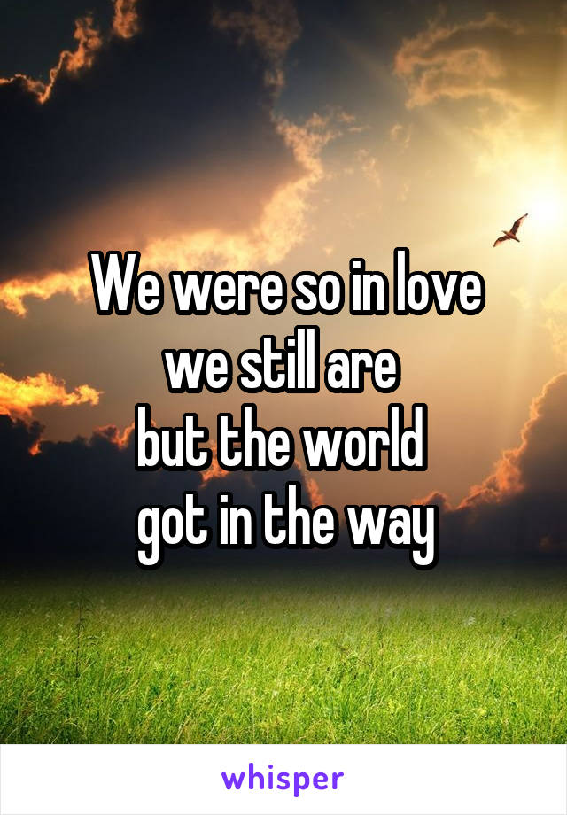 We were so in love we still are  but the world  got in the way
