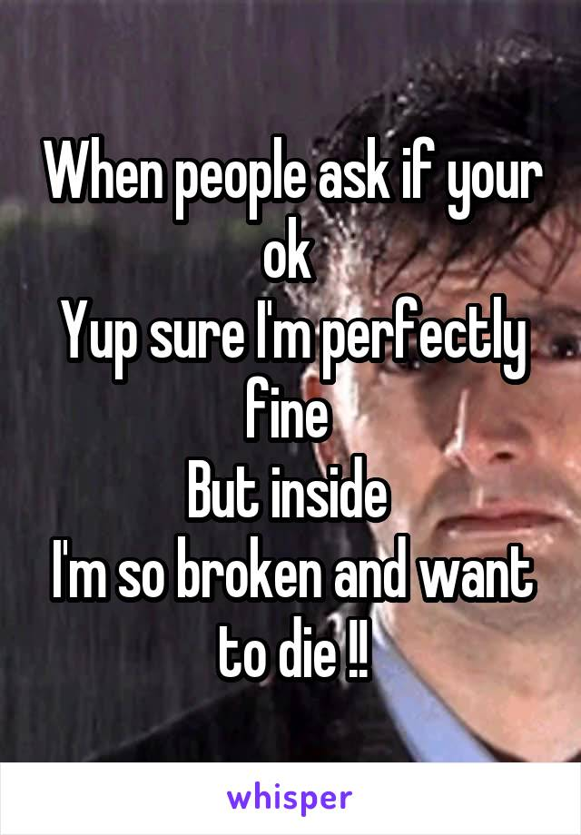 When people ask if your ok  Yup sure I'm perfectly fine  But inside  I'm so broken and want to die !!