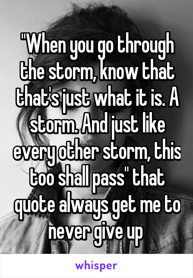 """When you go through the storm, know that that's just what it is. A storm. And just like every other storm, this too shall pass"" that quote always get me to never give up"