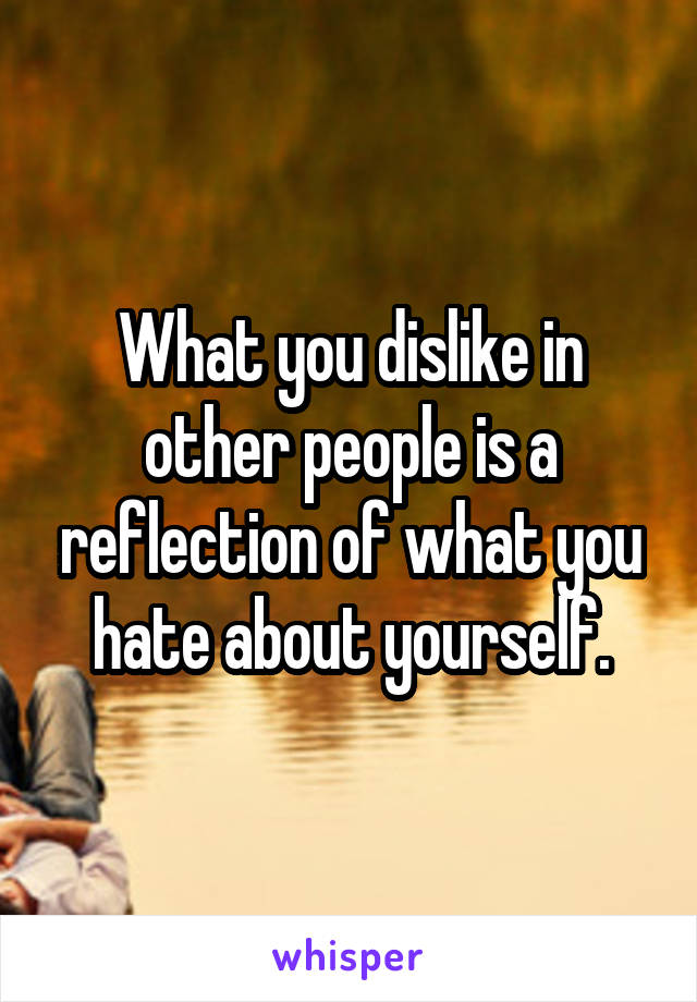 What you dislike in other people is a reflection of what you hate about yourself.