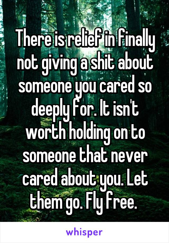 There is relief in finally not giving a shit about someone you cared so deeply for. It isn't worth holding on to someone that never cared about you. Let them go. Fly free.