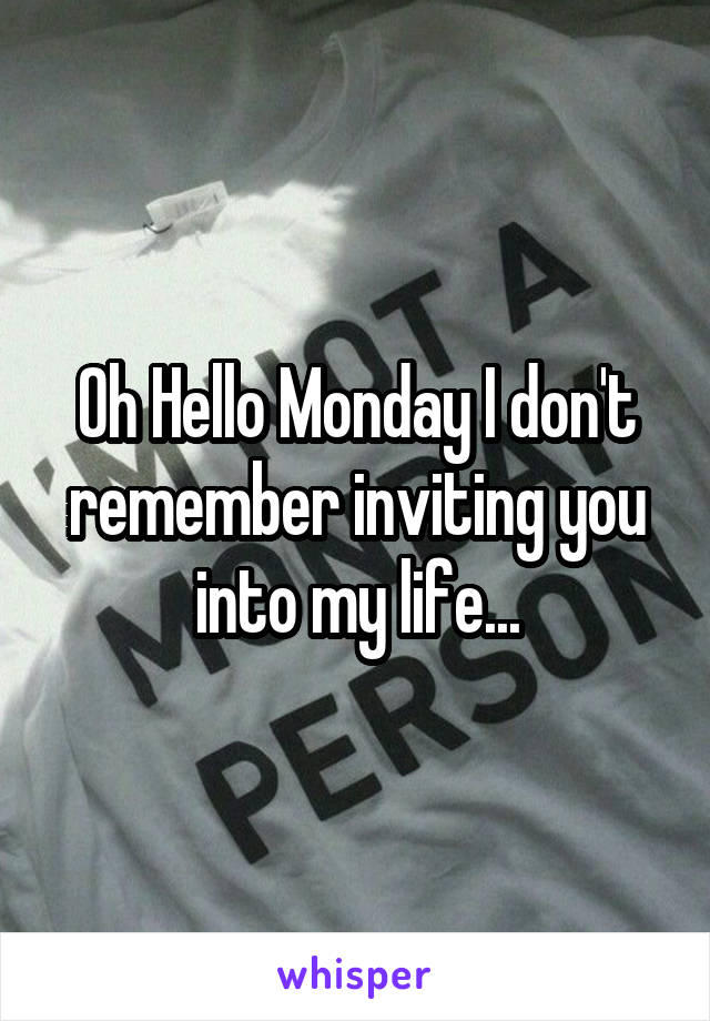 Oh Hello Monday I don't remember inviting you into my life...