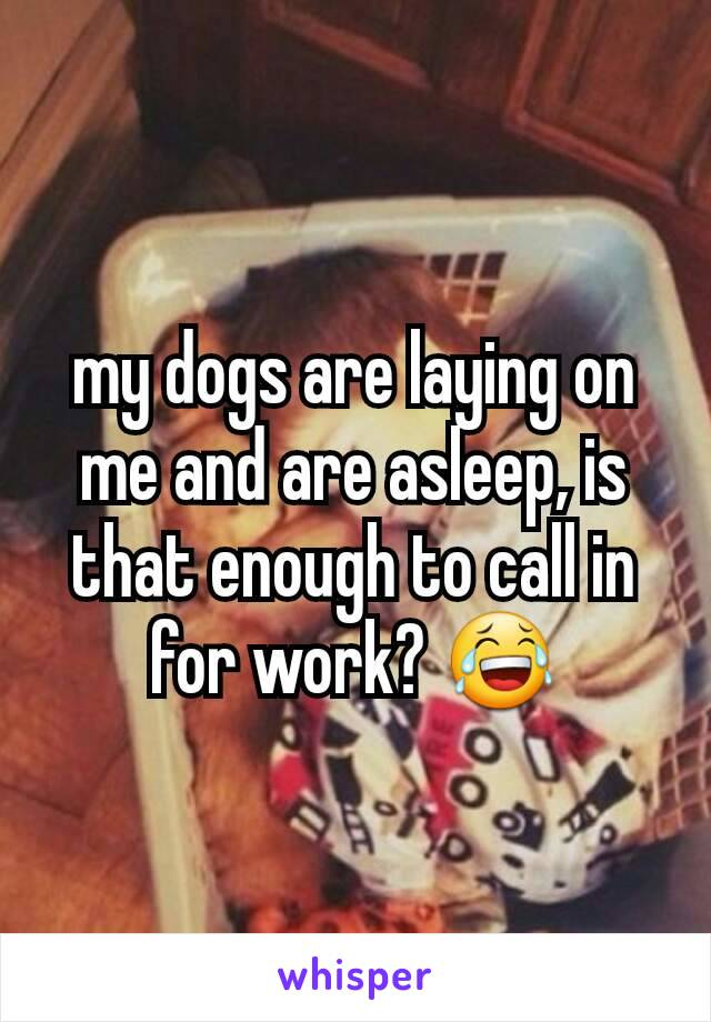 my dogs are laying on me and are asleep, is that enough to call in for work? 😂