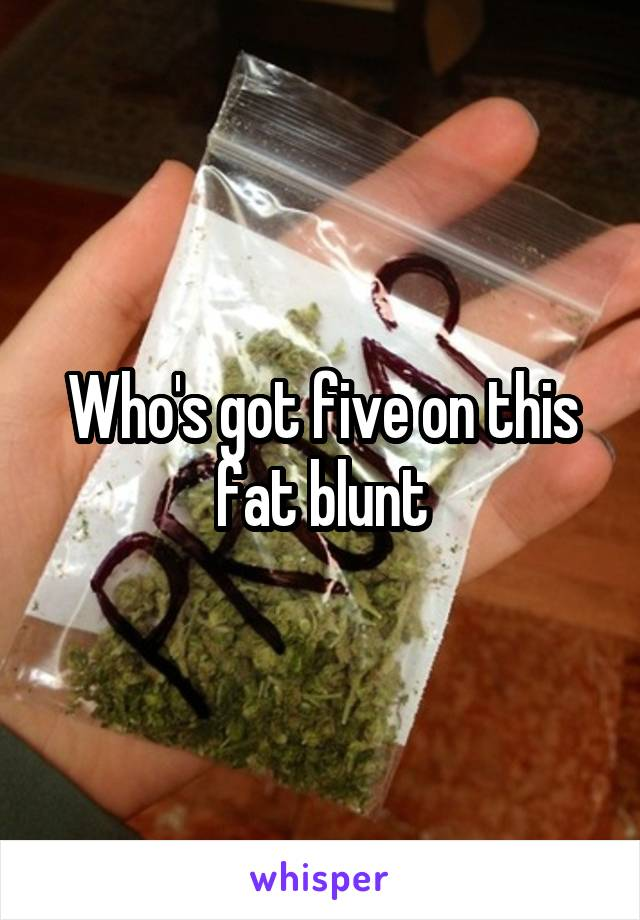 Who's got five on this fat blunt