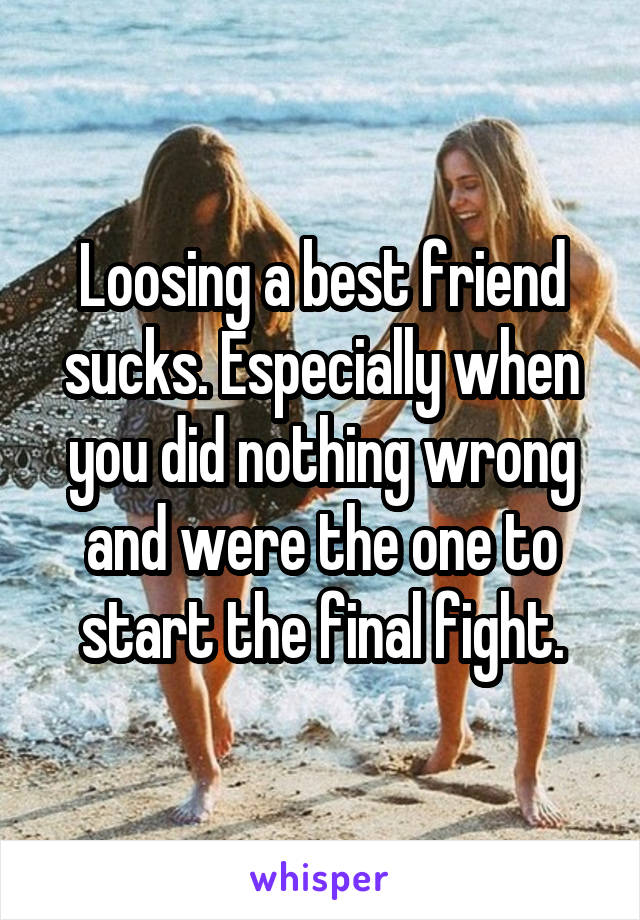 Loosing a best friend sucks. Especially when you did nothing wrong and were the one to start the final fight.