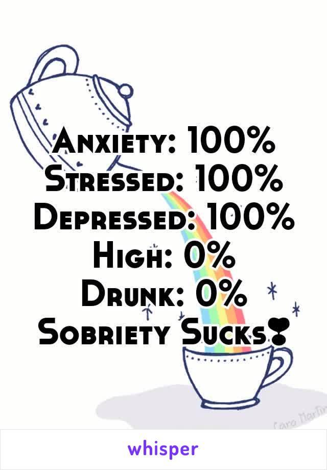 Anxiety: 100% Stressed: 100% Depressed: 100% High: 0% Drunk: 0% Sobriety Sucks❣