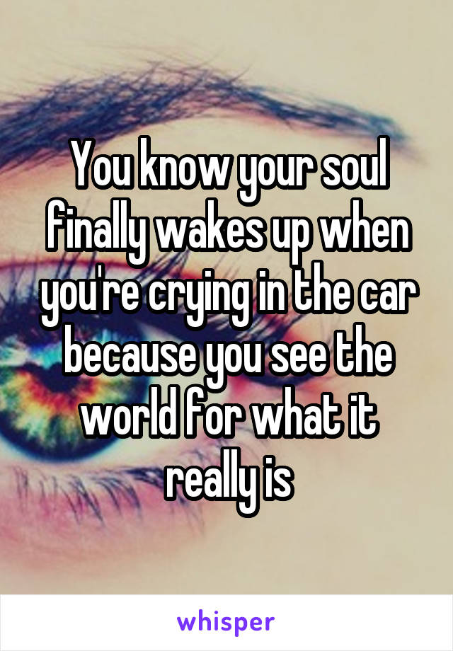 You know your soul finally wakes up when you're crying in the car because you see the world for what it really is