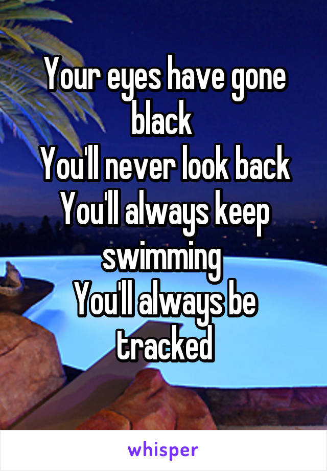 Your eyes have gone black  You'll never look back You'll always keep swimming  You'll always be tracked