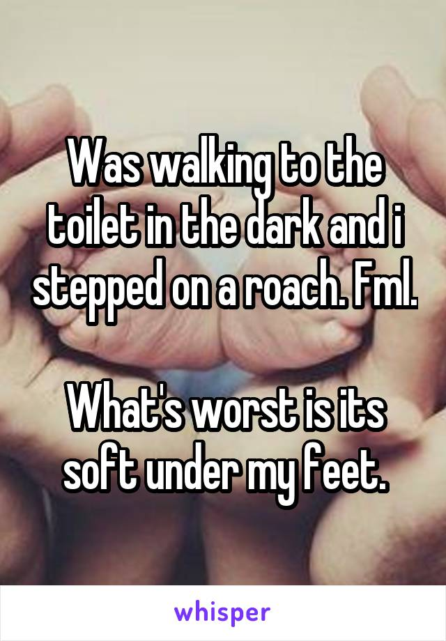 Was walking to the toilet in the dark and i stepped on a roach. Fml.  What's worst is its soft under my feet.