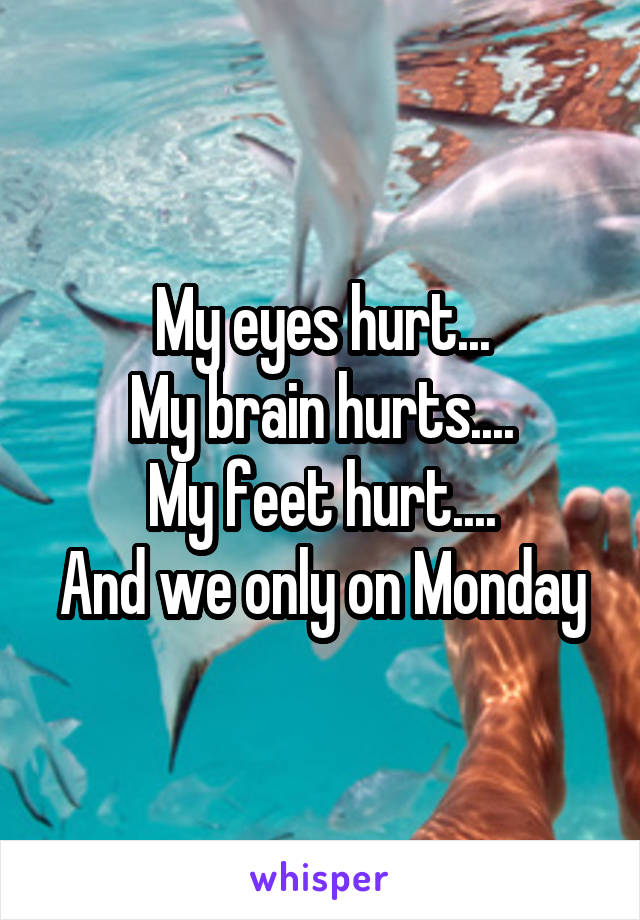 My eyes hurt... My brain hurts.... My feet hurt.... And we only on Monday