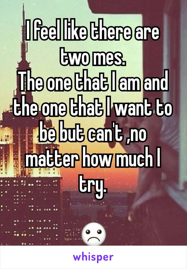 I feel like there are two mes. The one that I am and the one that I want to be but can't ,no matter how much I try.  ☹