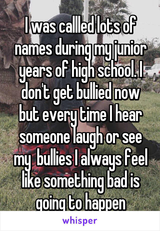 I was callled lots of names during my junior years of high school. I don't get bullied now but every time I hear someone laugh or see my  bullies I always feel like something bad is going to happen