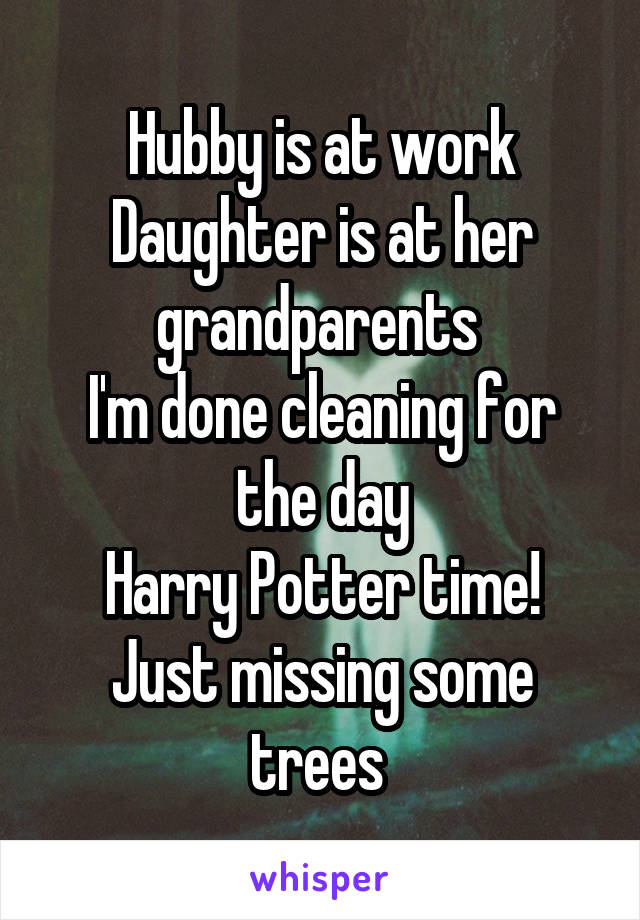 Hubby is at work Daughter is at her grandparents  I'm done cleaning for the day Harry Potter time! Just missing some trees