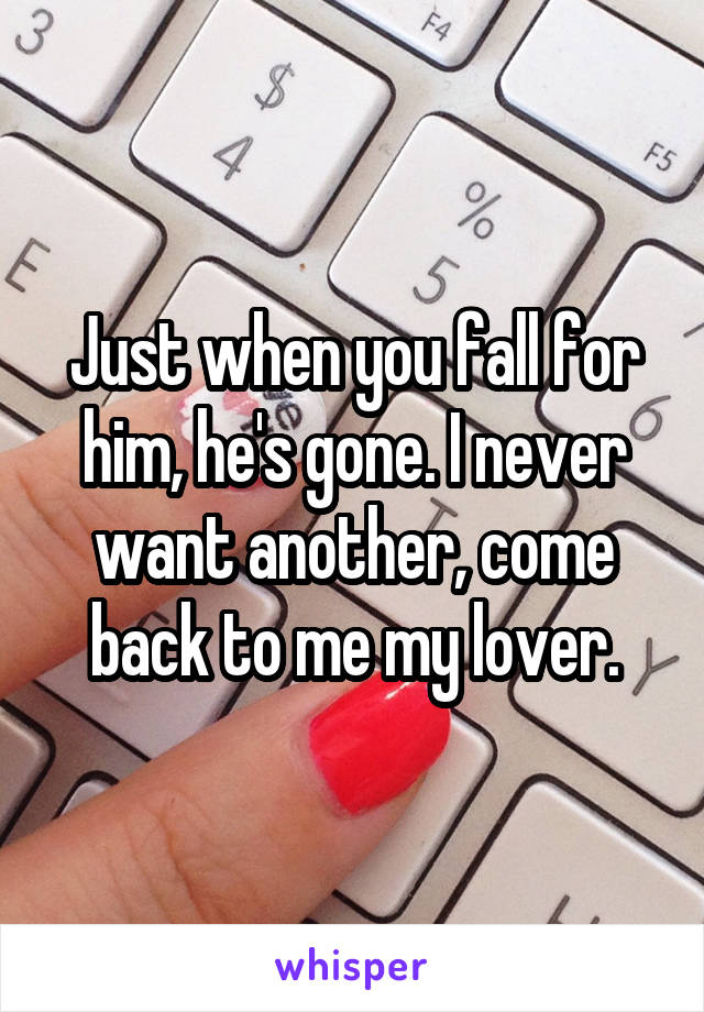 Just when you fall for him, he's gone. I never want another, come back to me my lover.