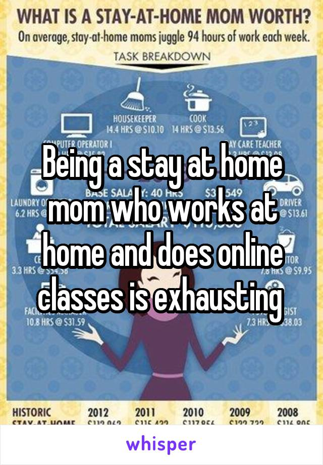 Being a stay at home mom who works at home and does online classes is exhausting