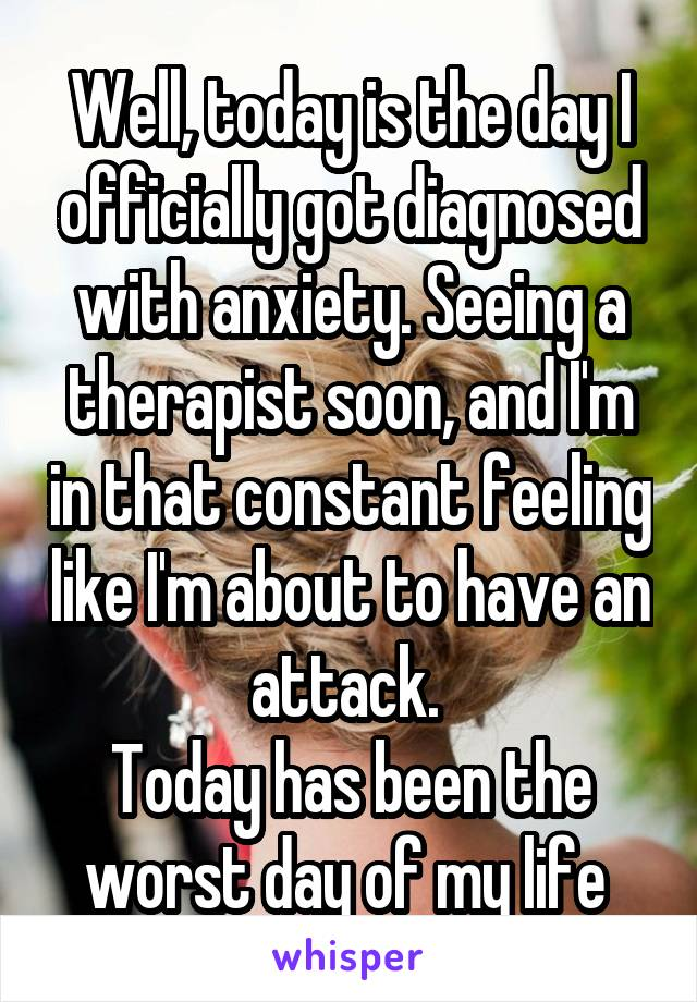 Well, today is the day I officially got diagnosed with anxiety. Seeing a therapist soon, and I'm in that constant feeling like I'm about to have an attack.  Today has been the worst day of my life