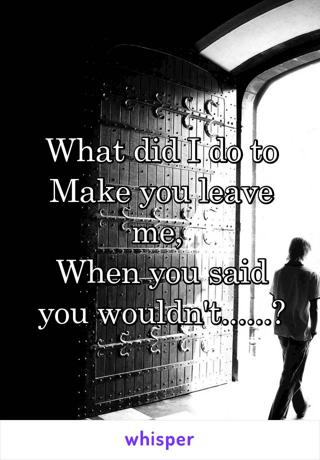 What did I do to Make you leave me,  When you said you wouldn't......?