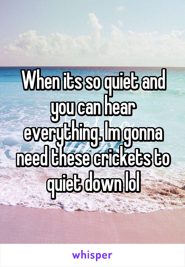 When its so quiet and you can hear everything. Im gonna need these crickets to quiet down lol