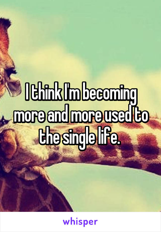 I think I'm becoming more and more used to the single life.